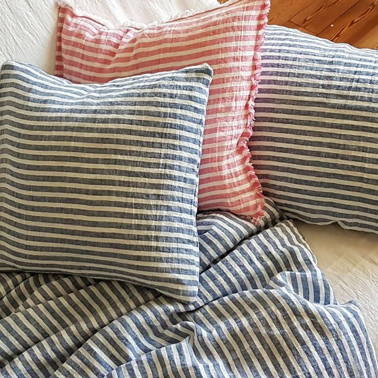 Standard housewife linen pillowcase from stonewashed striped linen, standard, Queen, King sizes available by DejavuLinen on Etsy