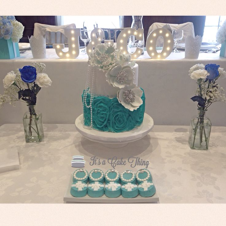 Tiffany themed bridal Shower cake and sweets