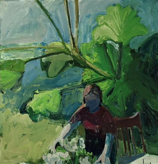 Paul Wonner (US 1920-2008)  Woman with Flowers (1961)  Bay Area Figurative Movement- Kundst