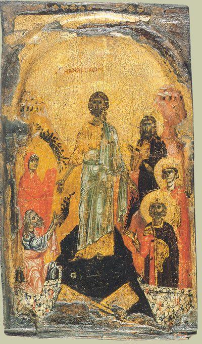 Сошествие во ад. Византия (Афон) XII век. Из Лавры Св. Афанасия на Афоне. Дерево (каштан), резное арочное обрамление, левкас, золочение, темпера.