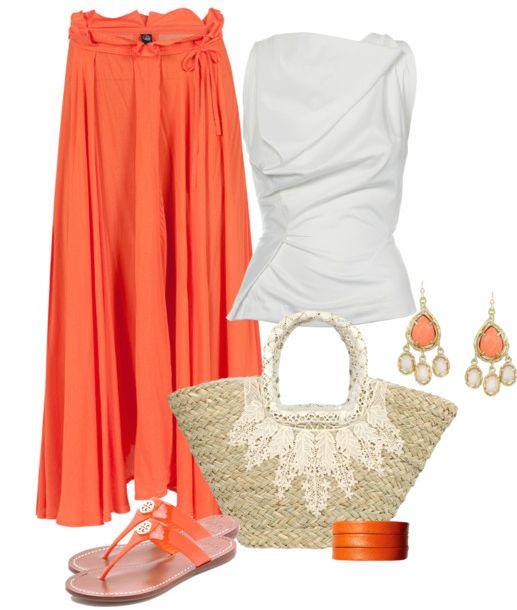Summer work attire:  Orange summer maxi skirt ...