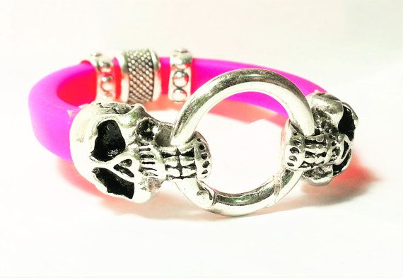Punk Style Pink Silicone Bracelet with Unique by OxyFineCrafts