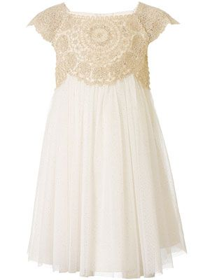 This would make an adorable easter dress, old doilies and then i would use blue or light pink fabric for the bottom instead of the white :)