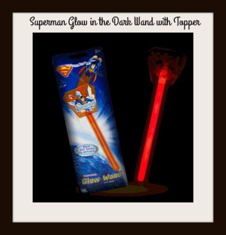SUPERMAN WAND Glow in the Dark with Topper - Super Hero Children Kids Party NEW