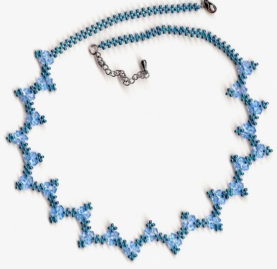 Free pattern for beaded necklace Blue River      U need:  seed beads 11/0  bicone beads 4-6 mm       [ad#Adsense3]