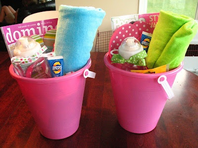 End Of Year Beach Themed Teacher Gift Basket Bucket Secondgradesquad Pinterest Gifts And Baskets