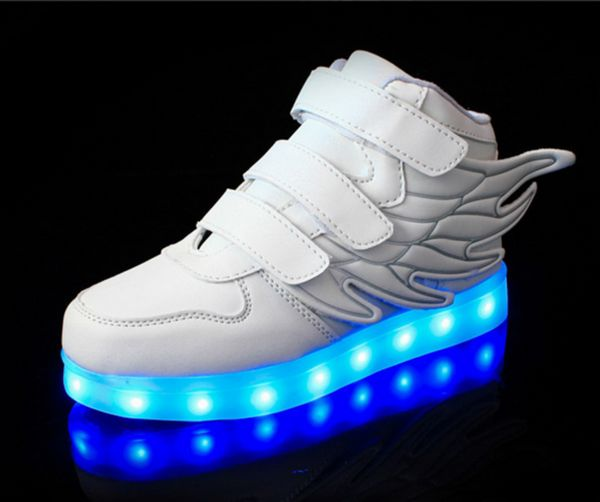 (Present:kleines Handtuch)Weiß EU 36, Sneakers Charging Shoes Top Changing Men Couple Sneakers High Luminous Color LED-Licht mode Flash Sport 7 Ca
