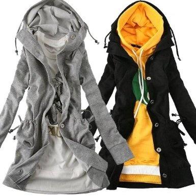 Amazon.co.jp: my closet フード付きスウェットロングパーカー スプリングコートにも M L LL XL 2L 大きいサイズ: 服&ファッション小物