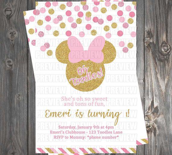 Invitación de Minnie Mouse Pink & Gold