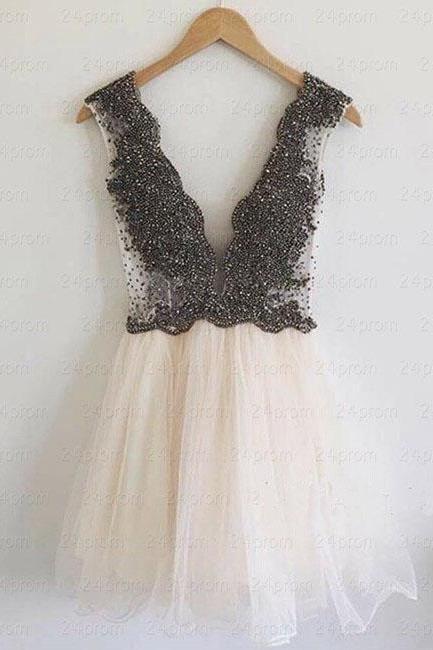 Bg99 Deep V Neck Prom Dres,Cute Prom Dress,Short Homecoming Dress,Tulle Party Dress,Juniors Homecoming Dresses