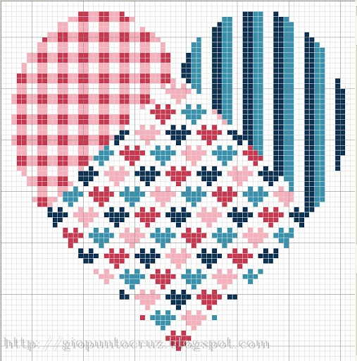 Patchwork heart cross stitch ... no color chart available, just use pattern chart as your color guide.. or choose your own colors...