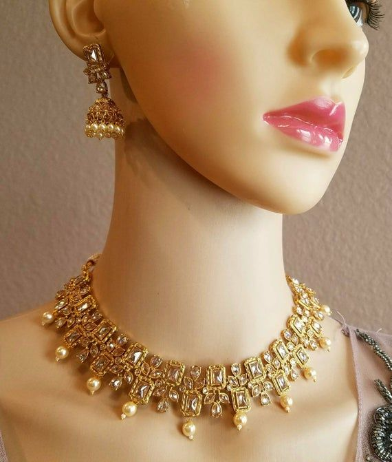 Gold orange long necklace earrings tikka set Indian bridal pakistani party jewellery