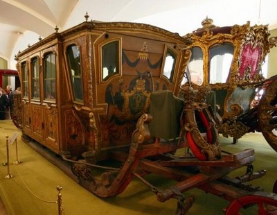 Catherine the Great sleigh - a very grand version of the enclosed carriage box/sleigh that Antonia's family traveled in when she was young. :-)