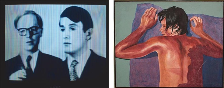 The Glam period is very much associated with camp, and art produced at this time reflected that. Gilbert and George declared themselves 'Living Sculptures', and Patrick Proctor painted mannered pictures of his muse, Gervase.