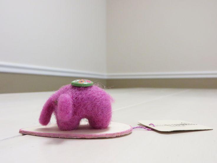 Mister pink elephant needle felt