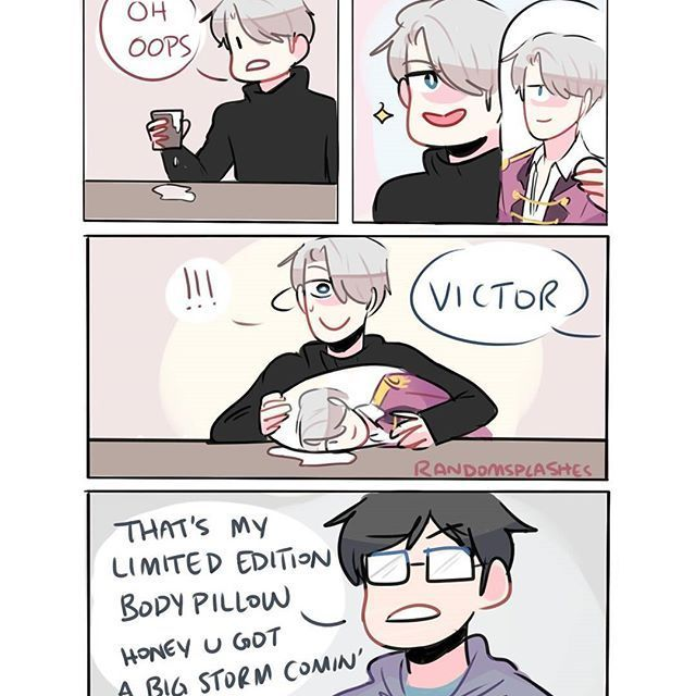 Victor uses a body pillow of himself to clean up messes but gets
