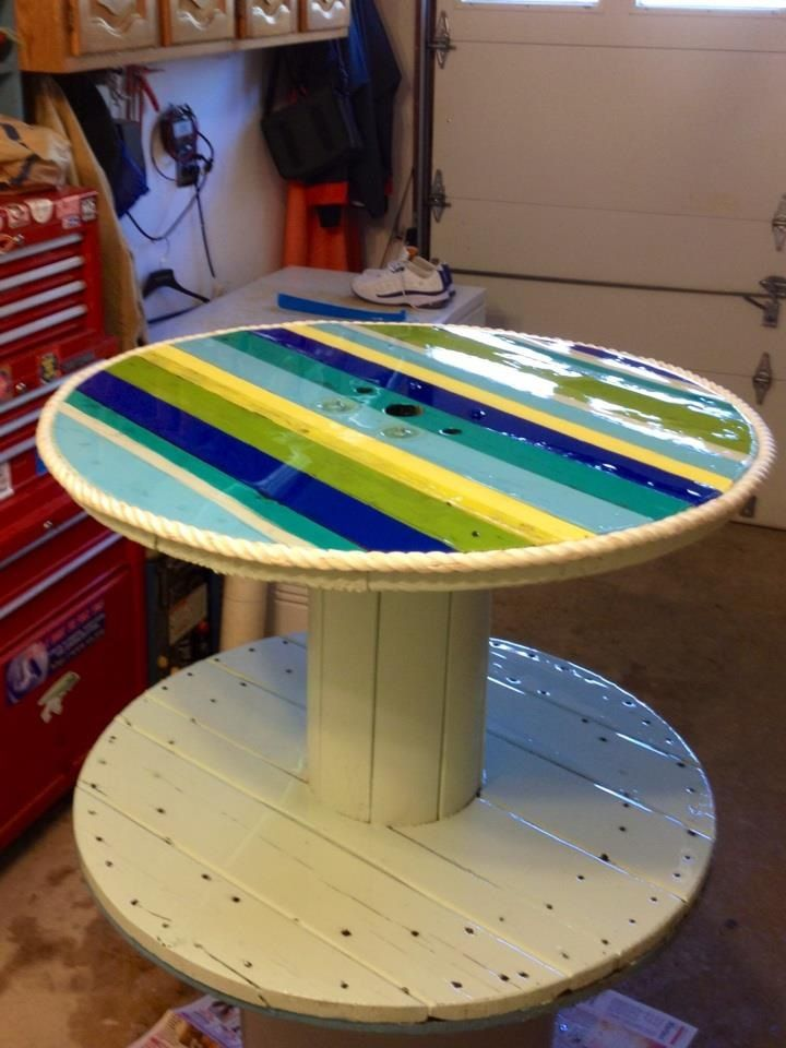Upcycled rope spool table such bright colors large for Large wooden spools used for tables