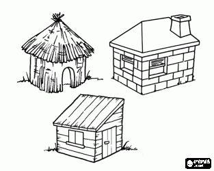 Dit zijn de drie huizen van de drie kleine biggetjes: het huis van stro, de stokken huis en de stenen huis kleurplaat
