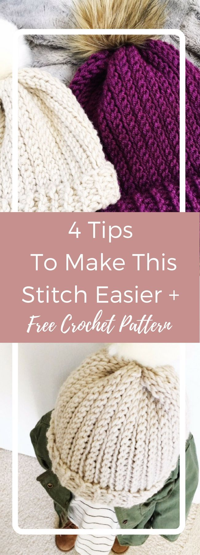 ribbed beanie crochet pattern / An easy beginner crochet pattern that uses 1 basic stitch that will fool your knitting friends.