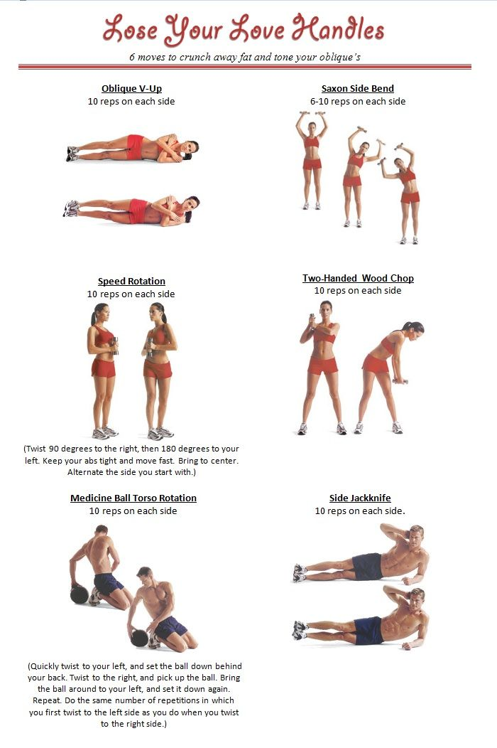 Lose Your Love Handles! Oblique V-Up, Saxon Side Bend, Speed Rotation, Two-handed Wood Chop, Medicine Ball Torso Rotation, Side Jackknife. Combined with other abs