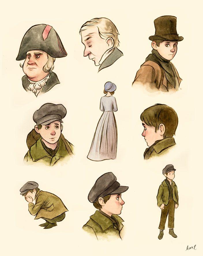 "Watercolour doodles from Roman Polanski's ""Oliver Twist""."
