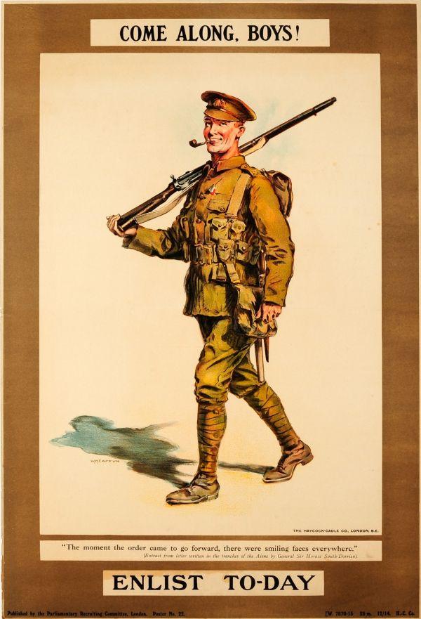 ENLIST TODAY British WW1 Propaganda Poster COME ALONG BOYS
