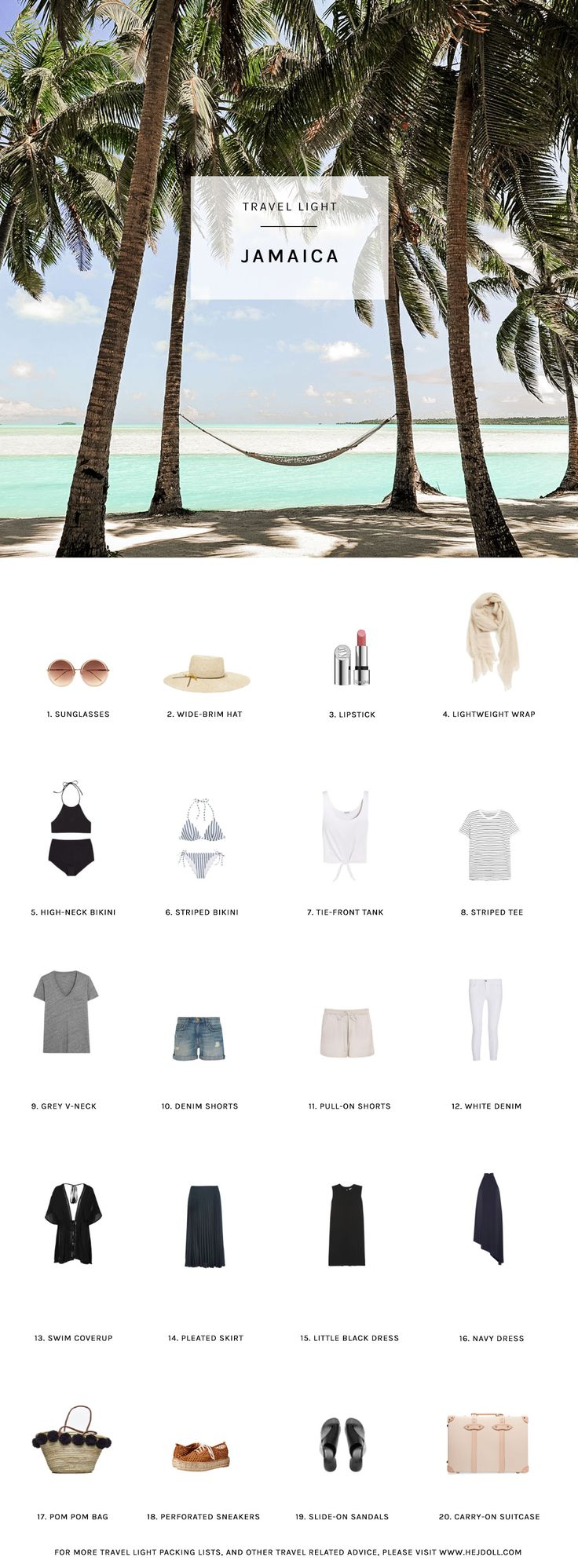 Travel Light - Pack for Jamaica in the Fall. 20 items, 10 outfits, 1 carry-on, this is the perfect fall packing list for a trip to the caribbean!