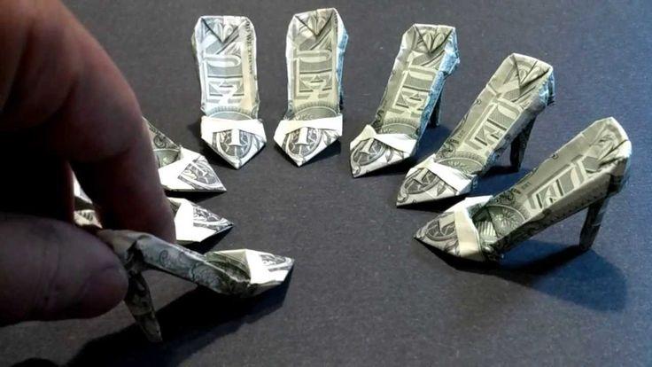 Money Origami High Heels - Dollar Bill Art  VIDEO INSTRUCTIONS!!!!