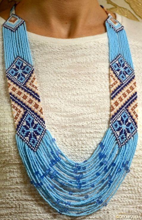Купити Кольє-гердан «Блакитний орнамент» в Україні