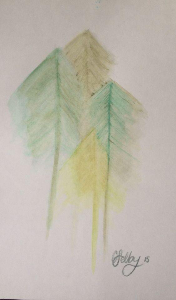 Trees- Derwent inktense