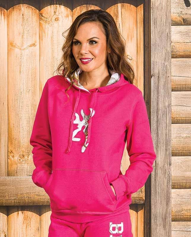 """Browning Women's Pink Realtree AP Snow Camo-Trimmed Fleece Hoodie This pink women's hoodie is trimmed with a large snow camo Browning buckmark logo on the front and matching hoodie trim. It features a large kangaroo pocket on the front and a drawstring adjustable hood. Realtree AP Snow Browning Buckmark applique Drawstring hoodie     Casual Outfits for women #countrygirl #CountryFashion #countryoutfit drysdales.com #Winter2015 """"hunting apparel"""" gift idea for cowgirl huntress gifts women"""