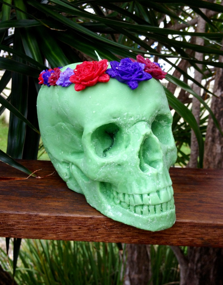 Life size green skull candle with flower headpiece - Roger & Molly