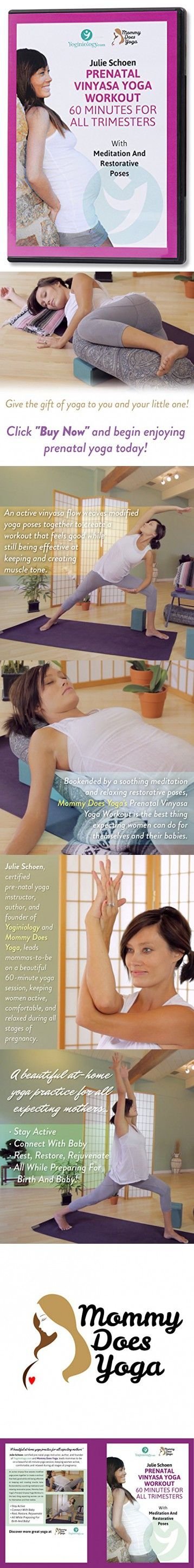 Best Prenatal Yoga DVD Vinyasa Workout with Julie Schoen - 60 Minutes for All Trimesters with Meditation and Restorative Poses for Beginners and Beyond