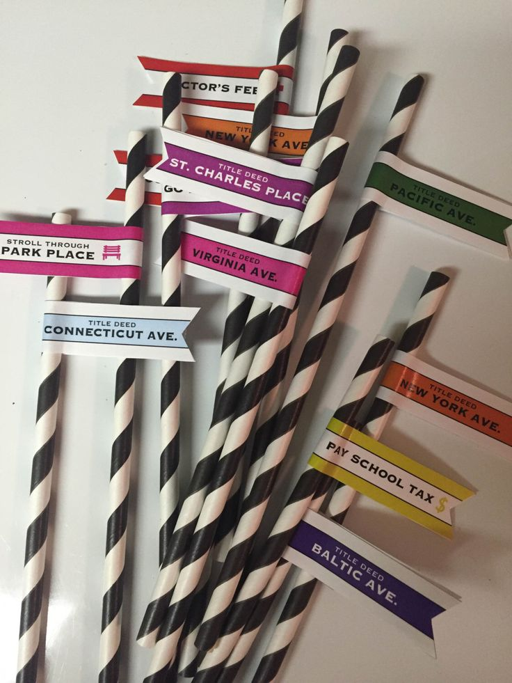 Monopoly Straw Flags, Printable, Game Straw Flags, Monopoly Party, Game Themed Parties by PlumBoxPress on Etsy https://www.etsy.com/listing/469291993/monopoly-straw-flags-printable-game