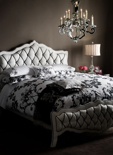 19 best black and white pillow shams images on pinterest im in love with this bedroom the black white bedding the tufted headboard the wall color and that chandelier mozeypictures Image collections