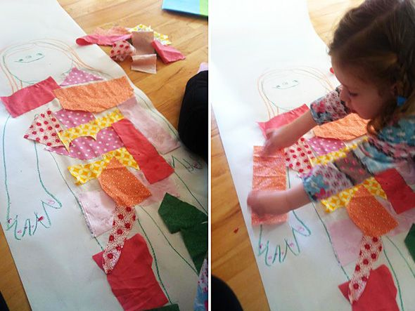 "Interesting idea to use scraps of tissue paper and/or fabric to create ""clothes"" on the body outline. Perfect for my little monsters - lots of textures (touchfeel experience), colors, patterns. Have to try this next year for our ""Human body"" theme."