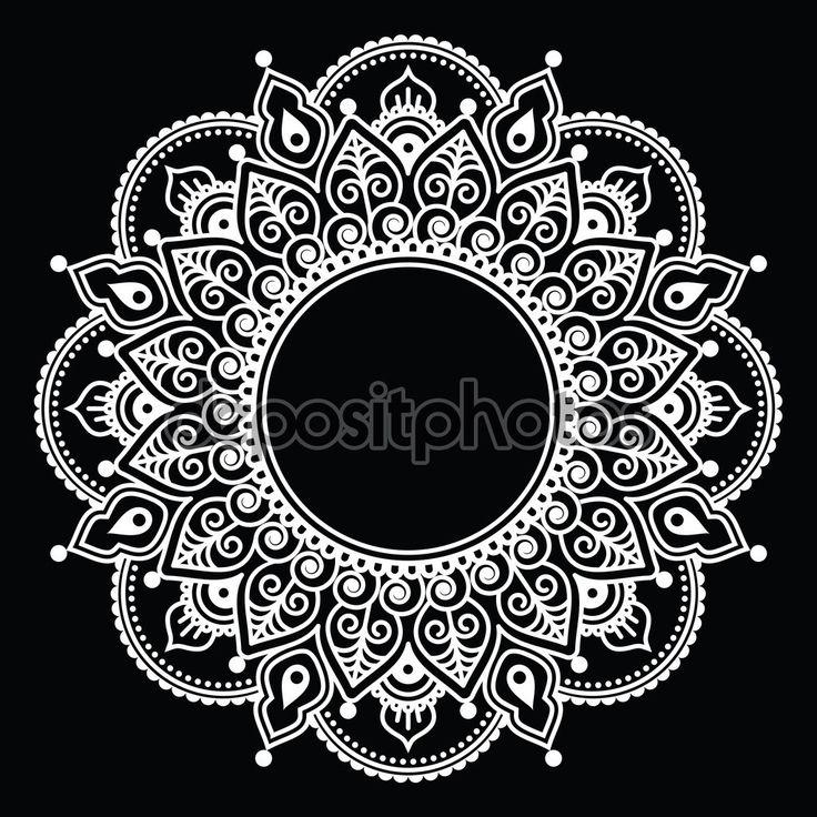 Менди кружева, индийской хны белые татуировки круглый дизайн или шаблон — стоковая иллюстрация #100316302