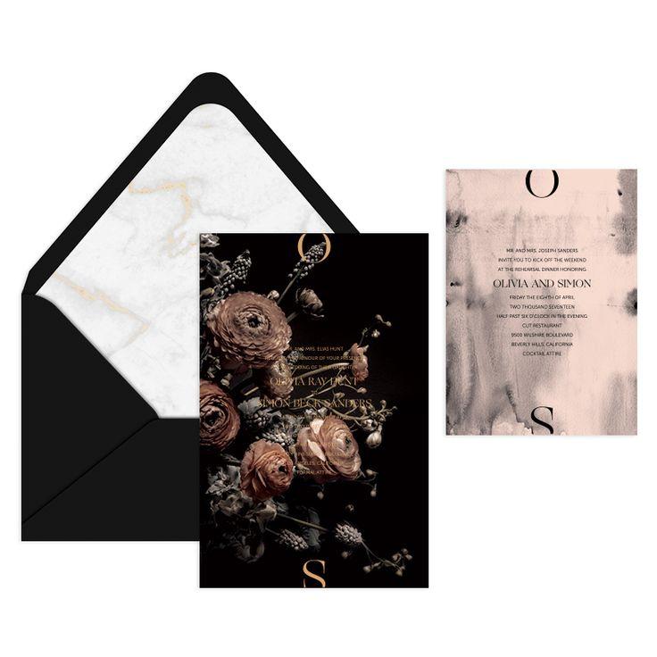 Jardin Invitation Suite / Wedding / Moody Floral / Blush Watercolor / Letterpress & Brass Foil Stamp / Black & White / Marble / Editorial / Nynne Rosenvinge / Moon Canyon / Modern / Custom / #myownblissandbone
