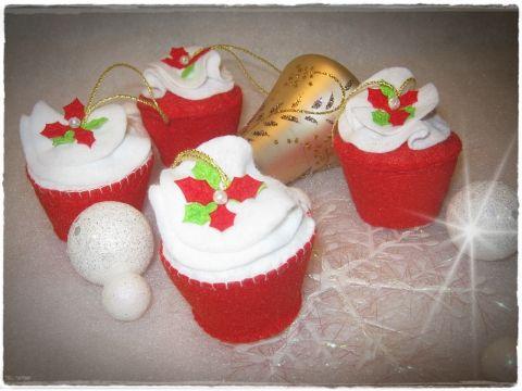 4 db os cupcake szett mikulás virág díszítéssel, Otthon, lakberendezés, Dekoráció, Karácsonyi, adventi apróságok, Karácsonyfadísz, Meska