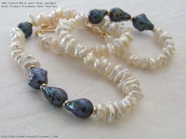 Stacked White Small Keshi and Dyed Black Fireball Freshwater Pearl Necklace