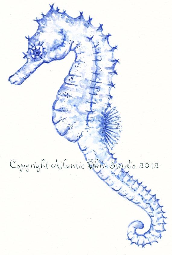 Seahorse Blues.....    Seahorse Print Underwater Painting Ocean Art by AtlanticBlueStudio, €5.00    https://www.etsy.com/listing/102913710/seahorse-print-underwater-painting-ocean