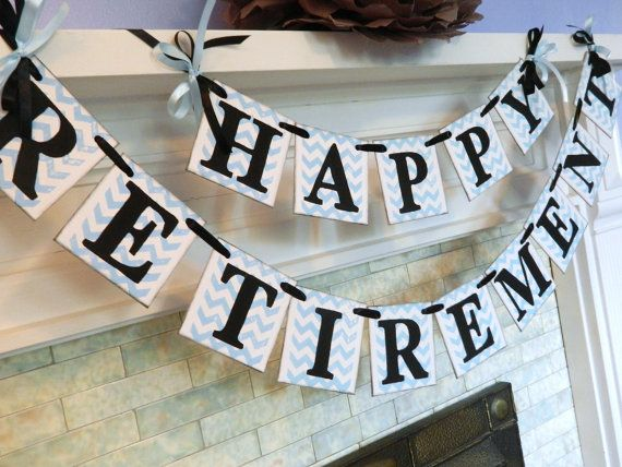 Happy Retirement Banner / Retirement Party Sign/ Chevron Stripes Party Decoration/ You Pick the Colors on Etsy, $31.50