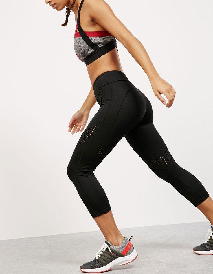 Bershka France - Legging sport en tissu technique avec détails ajourés