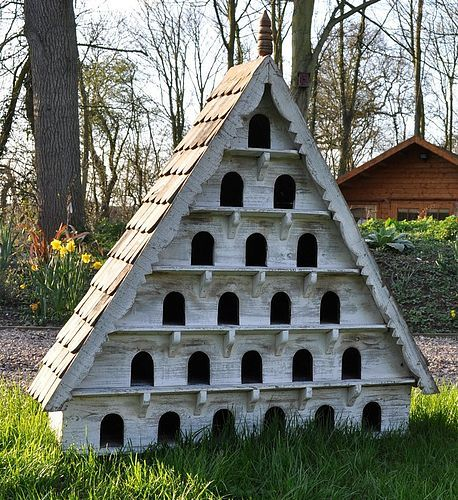 Extra Large Bird House by Elizabeth & Stevens - Wow! I wish my garden was big enough for this beauty! A stunning handmade bird house made from recycled wood with a wonderful hand cut wood shingle roof. Needs to be wall mounted or placed on a secure pedestal. 150cms tall x 128cms wide x 34cms deep.