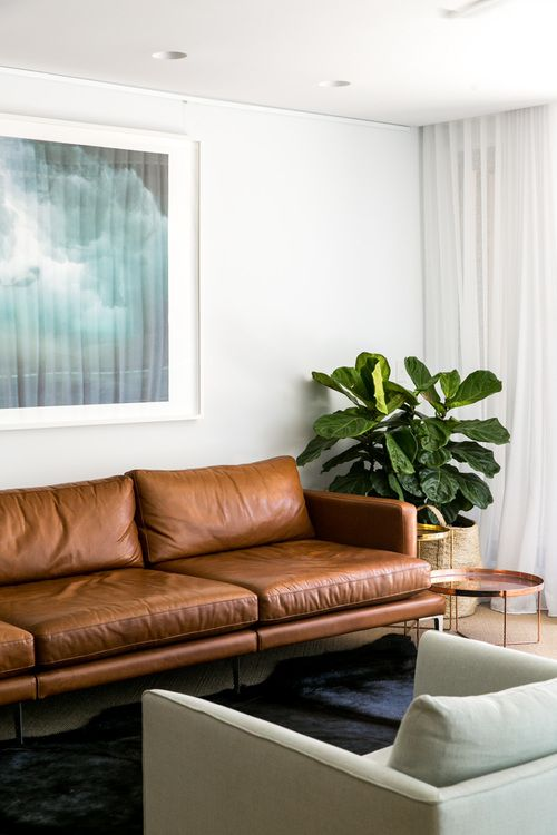 brown leather couch, copper sidetable, huge plant