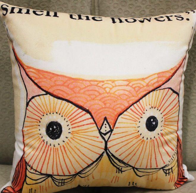 Peach Hipster Owl Cushion. #Cushion | #Owl | #Sale | #PhilBee | #Decor | #Melbourne | #Interiors | #InteriorDecorator | #Cushions | #OwlCushion