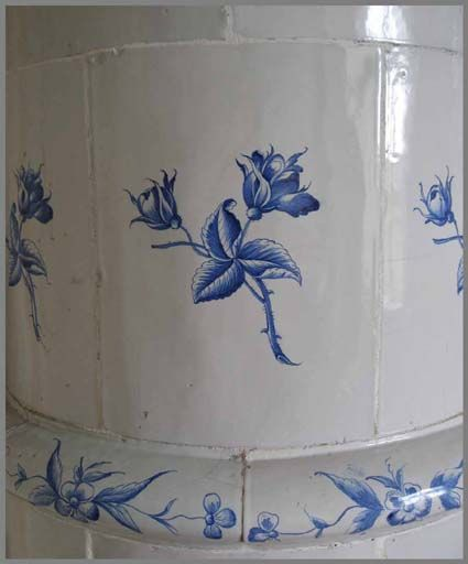 Closeup of Swedish tiled stove (Kakelugn) at Sturehovs Castle