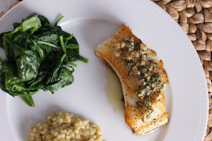 Chilean Sea Bass w/ Fresh Herbs & Sautéed Garlic