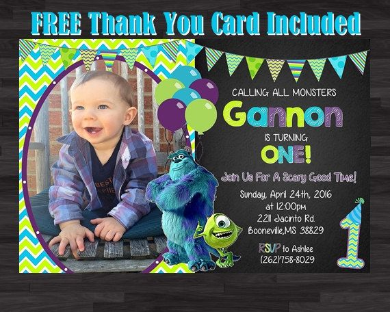 Monster Inc Invitation Photo Invitation Monsters by SoniaRDesigns