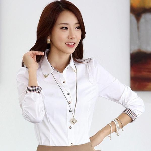 bfa76266fef Fashion women long sleeve shirt 2019 New slim elegant blouses shirts ladies  white chiffon office work plus size clothes tops